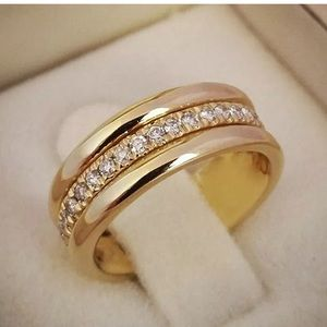 Yellow Gold Plated Ring Women White Sapphire